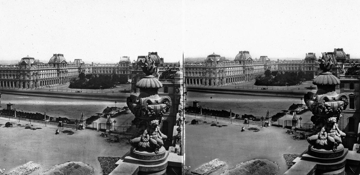 Stereobild. Ensemble du Louvre, Paris. Fanns på utställningen i Paris 1867.
