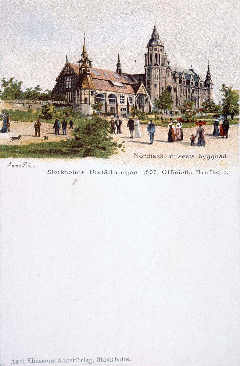 Nordiska museets byggnad på 1897 års utställning. Brevkort med teckning av Anna Palm.