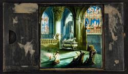 Laterna magica bild målad i färg på glasskiva. Hertig Ernst