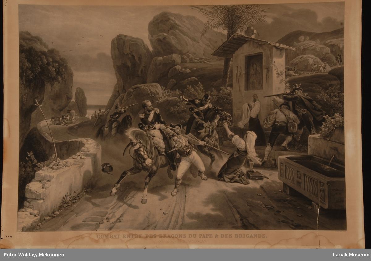 Angrep - kamp, soldater til hest, bedende kvinner, en kvinne sitter på knærne foran en hest. Ant. sør-Frankrike. Palmer og hav.