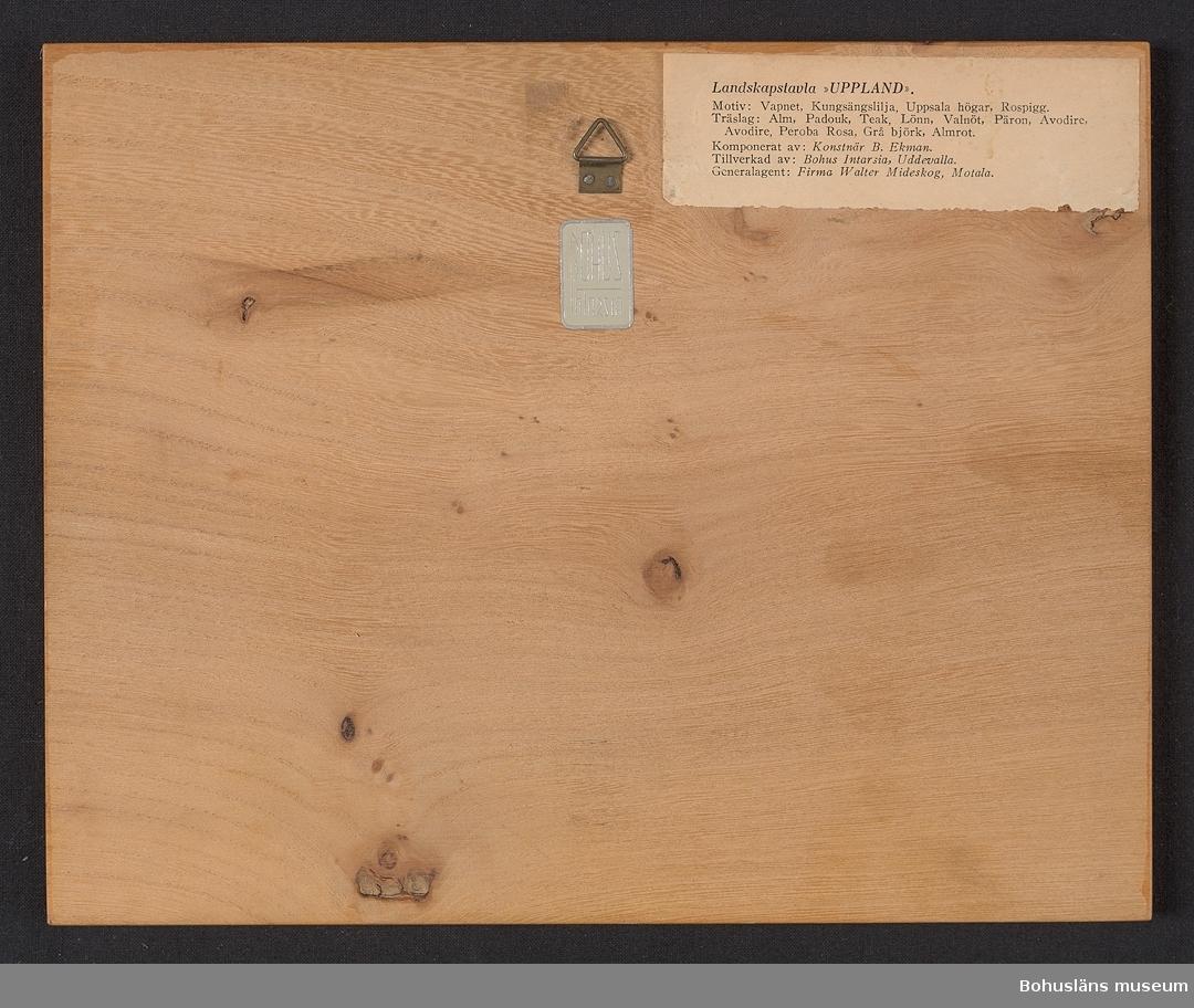 """Landskapstavla med namnet UPPLAND med landskapsvapnet, riksäpplet.  Ikoniska motiv typiska för landskapet inlagda i intarsiateknik av fanér i olika ljusa och mörka träslag.  Lackad.  Motiven avbildar blommande kungsngslilja, Uppsala högar med stavkyrka och en rospigg. Intarsian är skuren så att träets naturliga mönster skickligt medverkar till och understryker motivens former och volymer.  Beskrivande etikett av papper på baksidan med texten: Landskapstavla """"UPPLAND"""". Motiv: Vapnet, Kungsängslilja, Uppsala högar, Rospigg.   Träslag: Alm, Padouk, Teak, Lönn, Valnöt, Päron, Avodire, Peroba Rosa, Grå björk, Almrot. Tillverkad av: Bohus Intarsia, Uddevalla. Komponerat av: Konstnär B. Ekman. Generalagent: Firma Walter Mideskog, Motala. En vit klisteretikett med silverkant och silvertext BOHUS Intarsia  På baksidan en upphängning."""