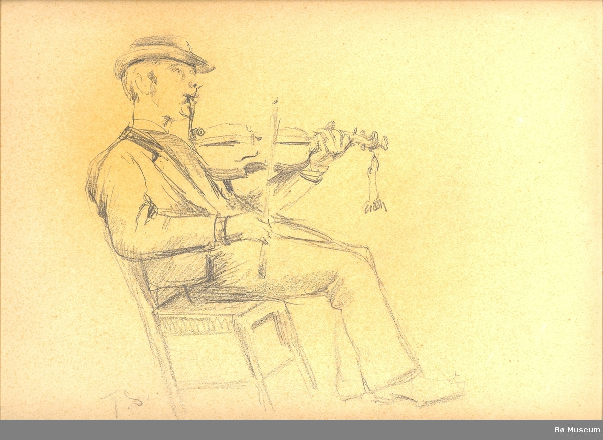 På den eine sida av arket mann som spelar fele og på den andre sida 3 portrett.