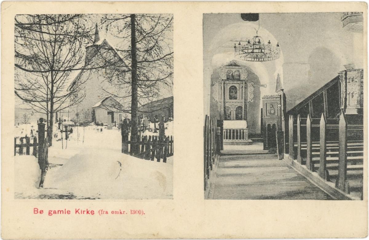 Todelt postkort, Bø gamle kyrkje eksteriør og interiør.