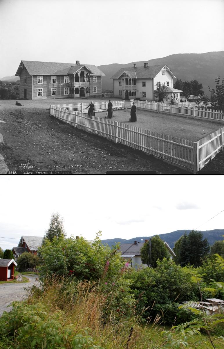 Refotografering. Frydenlund skysstasjon, Nord-Aurdal, Oppland. Fotografert 1889 og 2012. I 2012 er croquet-banen borte og tomten grodd igjen.