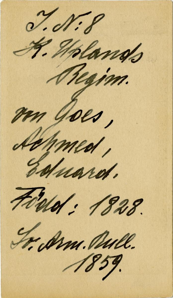 Porträtt av Achmed Eduard von Goës, löjtnant vid Upplands regemente I 8.