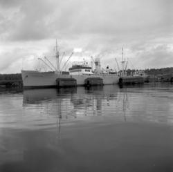 Båtar, besättningsmän och lastning vid Tunadals sågverk.
