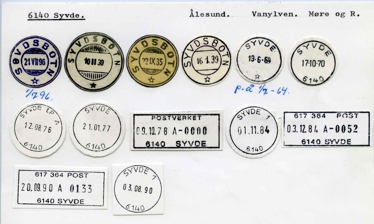 Stempelkatalog  6140 Syvde, Vanylven kommune, Møre og Romsdal (Søvdsbotn)