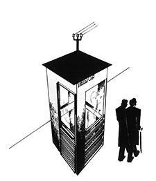 Røde telefonkiosker. Arkitekt Georg Fredrik Fastings tegning fra 1932