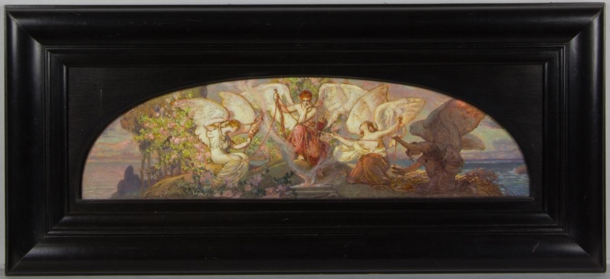 Eros i rosa klädnad placerad i centrum med huvudet stött i handen. Framför honom ett altare med en brinnande eld; på båda sidorna sitter ödesgudinnorna. Den högra håller ett linfäste från vilket livets tråd löper mellan ödesgudinnorna och Eros. Längst till höger en mörkklädd bevingad gestalt som klipper av tråden med en ullsax.