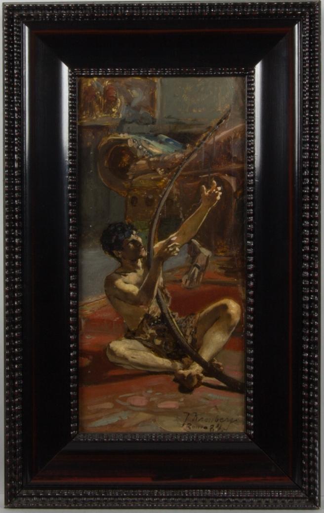 Ung man, David, sitter med korslagda ben och spelar på sin harpa. I bakgrunden rumsinredning.