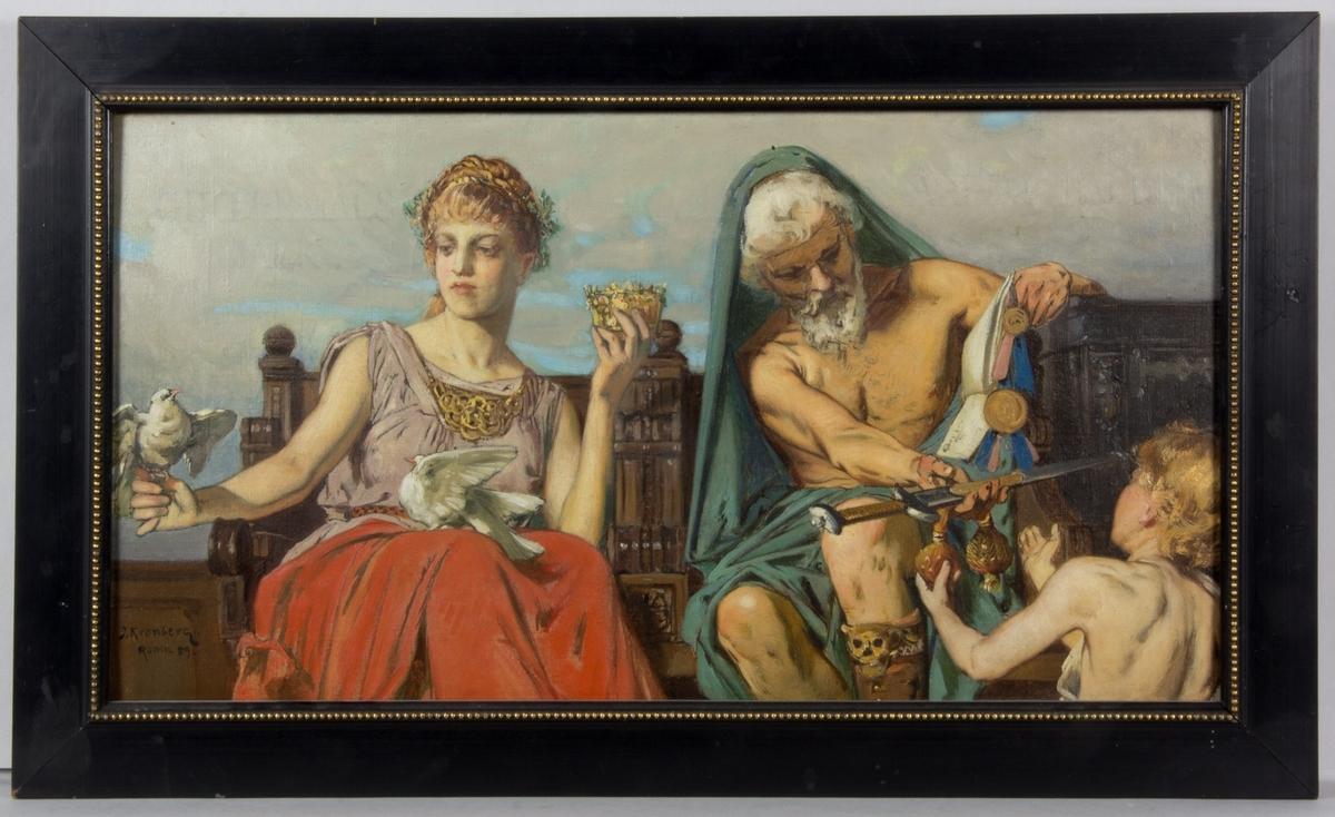 Allegorisk framställning av Giftermålsbalk och Ärfdabalk. Till vänster en sittande kvinna i röd kjol och ljuslila överdel. Hon  håller en brudkrona i ena handen och på den andra handen sitter en vit duva. Ytterligare en vit duva sitter i hennes knä. Till höger en sittande man med vitt hår, vitt skägg och bar överkropp. Han sträcker fram en värja till en ung guldlockig pojke med bar överkropp.