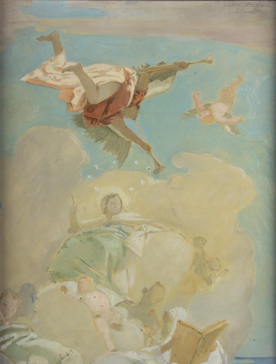 Skissartad skildring av patricierfamiljen Pisanis förhärligande i ljus färgskala. Överst flyger en bevingad figur med två lurar. Under denna ett flertal figurer, barn och vuxna, mot himmel och molnbakgrund. Detalj ur plafondmålning.