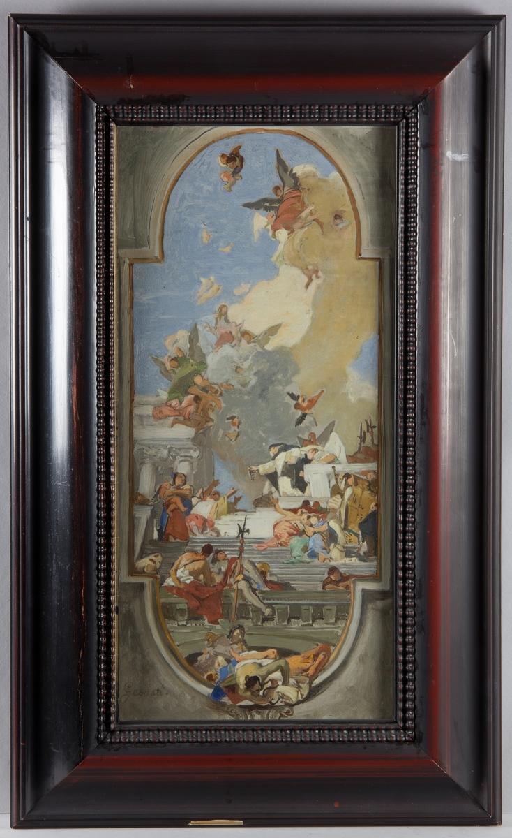 I arkitektonisk omgivning sitter den helige Dominicus som i sin utsträckta hand håller ett radband, en rosenkrans. Han är omgiven av ett myller av figurer av olika slag. Över honom moln, blå himmel och svävande änglar.