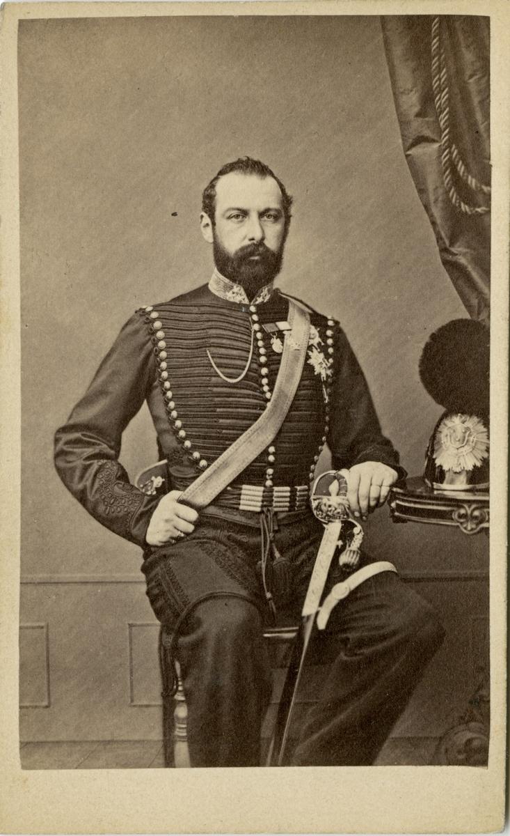 Porträtt av kung Karl XV i Wendes artilleriregementes uniform.