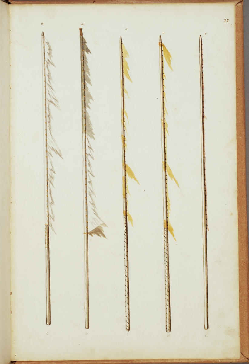 Avbildning i gouache föreställande fälttecken tagna som troféer av svenska armén. Av de avbildade fanstängerna finns en bevarad i Armémuseums samling, för mer information, se relaterade objekt.