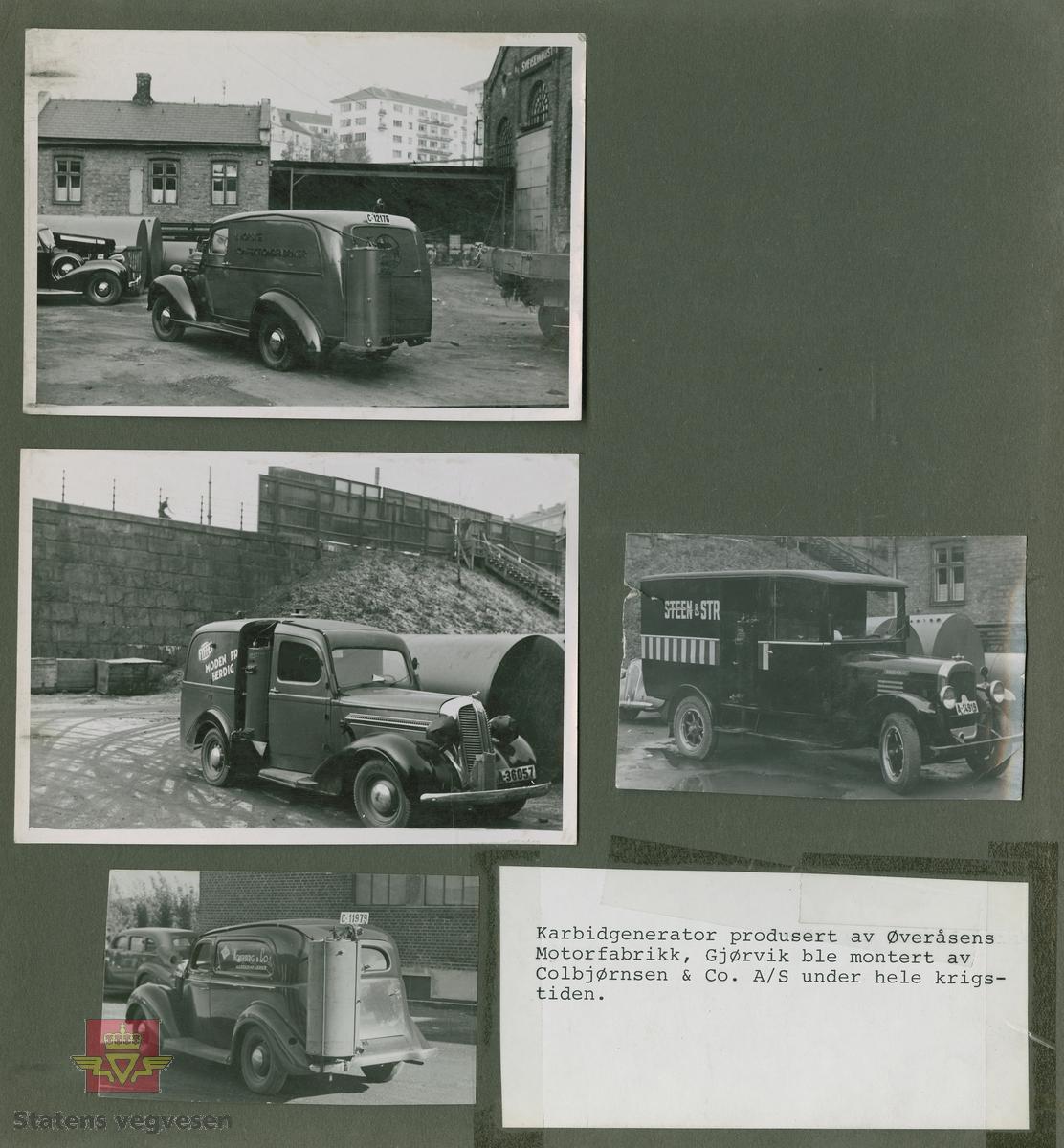 """""""Karbidgenerator produsert av Øveråsens Motorfabrikk, Gjøvik. De ble montert av Colbjørnsens & Co. A/S under hele krigstiden."""" I følge merking i album. På bilen med kjennetegn C-12178 står det skrevet """"A/S Norske Konfektionsfabriker."""" På skiltet øverst på murbygningen står sannsynligvis """"A/S Sveiseindustri.""""   Bilde 1/4 er en Chevrolet med en eldre Chev. baklykt  på taket. 20.08.2016: """"Bilde 1 er en Chevrolet 1939-40 varebil med norskbygd karosseri. """"25.06.2018: Til venstre snuten av en Packard fra sent 1930-tall. Opplysninger fra Ivar Erlend Stav.  Bilde 2/4 er en Dodge 1935-1936 modell. (Strømmenbygd?) Bilde 3/4  er en 1930 modell Brockway. 25.06.2018: Bildet 3 viser snuten av en Plymouth1937. Opplysninger fra Ivar Erlend Stav. Bilde 4/4 er en Ford fra 1937-1938 modell."""" 25.06.2018:  """"Ford 1938, siden det var første år med langsgående blanklist hos Ford. Karosseriet er originalt amerikansk varebilkarosseri på personbilchassis (""""sedan delivery"""" - i motsetning til et mer grovbygd varekarosseri på lett lastebilchassis og lastebilfront, kalt """"panel delivery"""". Opplysninger fra Ivar Erlend Stav.   17.08.2016: Opplysninger til kjøretøyene på bildet v/tidligere daglig leder John Hindklev ved Norsk Kjøretøyhistorisk Museum.   """"Under andre verdenskrig besto virksomheten til firmaet Colbjørnsen stort sett av å montere og vedlikeholde karbidgeneratorer fra Øveråsen. Legg merke til hvordan man felte generatorene inn i varebilkarosseriene. Reklameteksten  ble delvis borte."""" Sitat fra boka: """"Familiefirmaet-utenom allfarvei/2000 årsboken."""" Colbjørnsen & Co A/S, av Bjørn Ausjen Johannessen."""