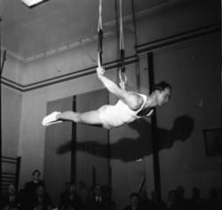"""Vardens arkiv. """"Turnstevne i Turnhallen K.M.""""  28.03.1954"""