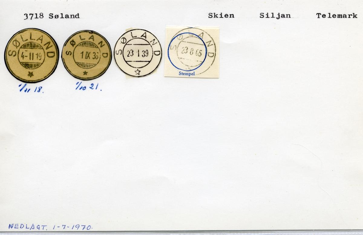 Stempelkatalog  3718 Søland, Siljan kommune, Telemark