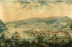 Flekkefjord, prospekt av byen og havnen [Litografi]