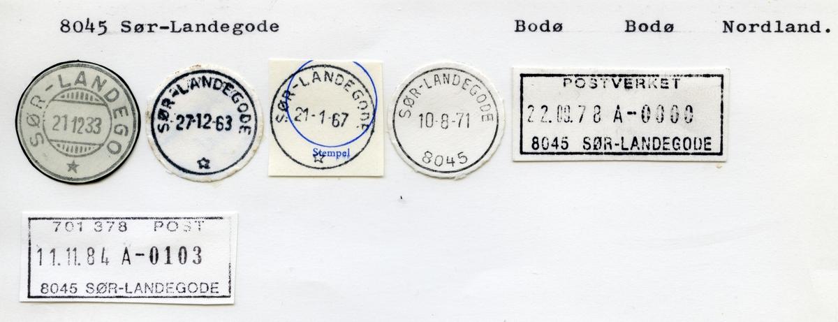 Stempelkatalog  8045 Sør-Landegode, Bodø kommune, Nordland