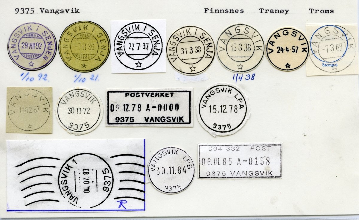 Stempelkatalog 9375 Vangsvik (Vangsvik i Senjen, Vangsvik i Senja), Finnsnes, Tranøy, Troms