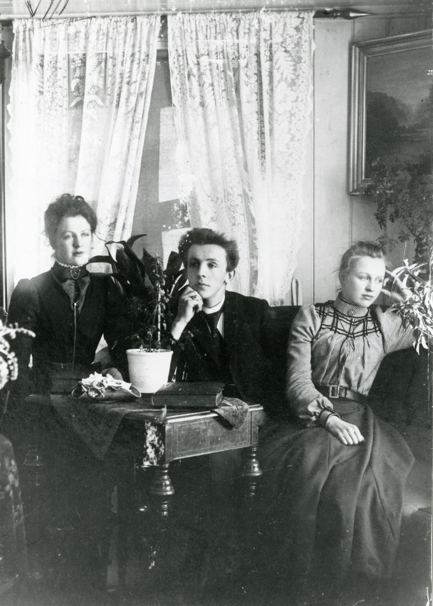 Portrett av søskenene Ragnhild, Kristian og Marit Knutsen.