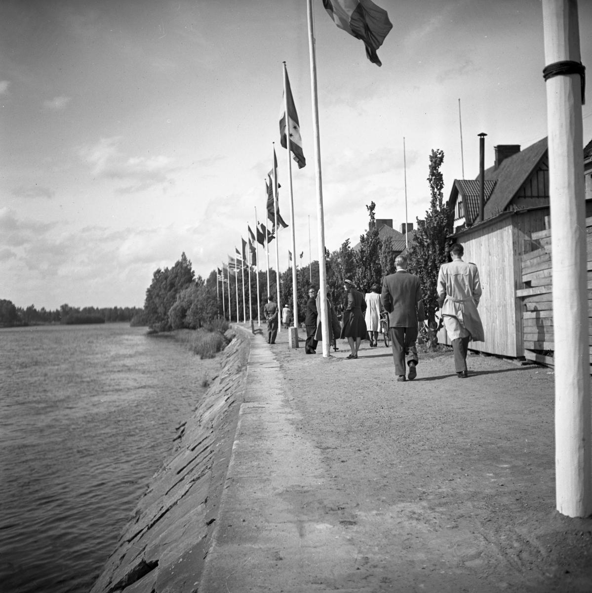Flaggparad i stråket till museet i samband med öppningen av den Ibero-Amerikanska arkitekturutställningen sommaren 1946.
