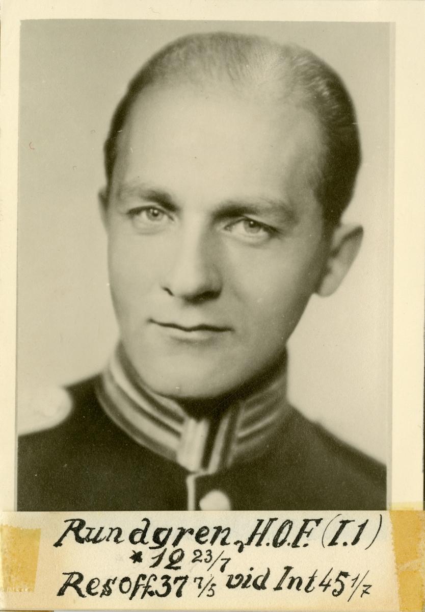 Porträtt av Hans Otto Fredrik Rundgren, officer vid Svea livgarde I 1 och Intendenturkåren.