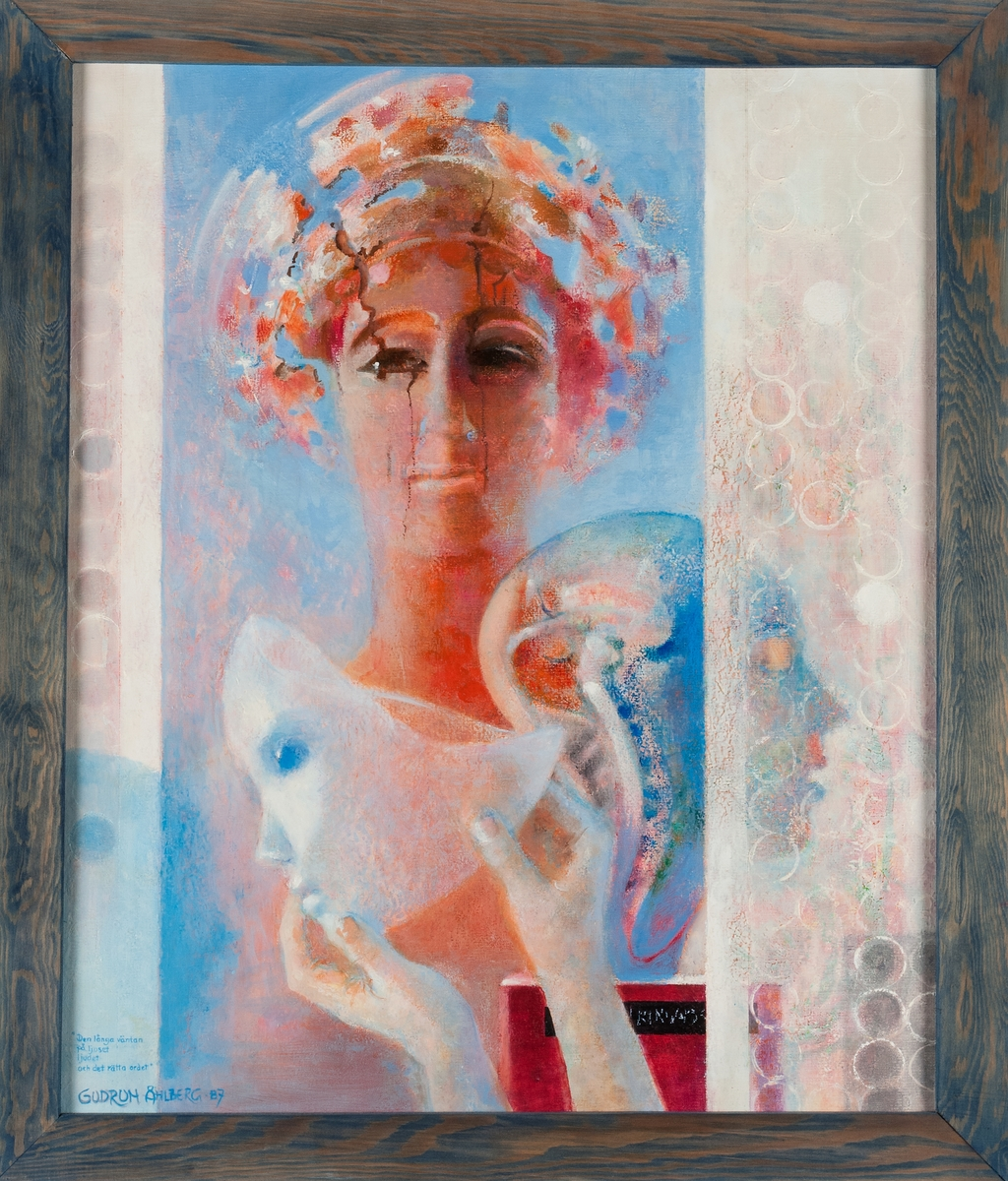 Oljemålning av Gudrun Åhlberg, 1987. Originalram av trä, blå.
