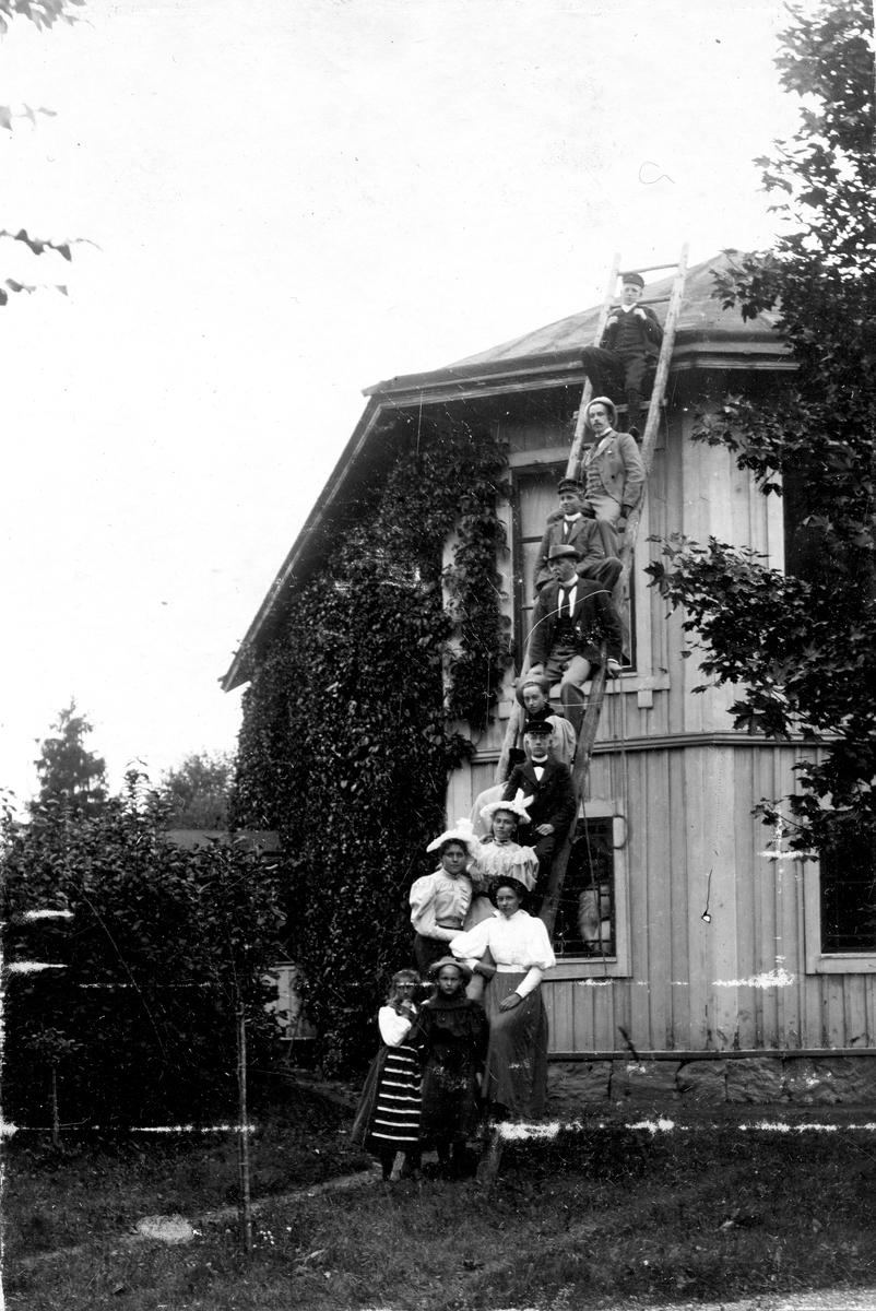 Fem kvinnor och sex män som sitter på en stege som står upprest mot en villa. Fotograf Alfred Bergendahl. Givare H Bergendahl.