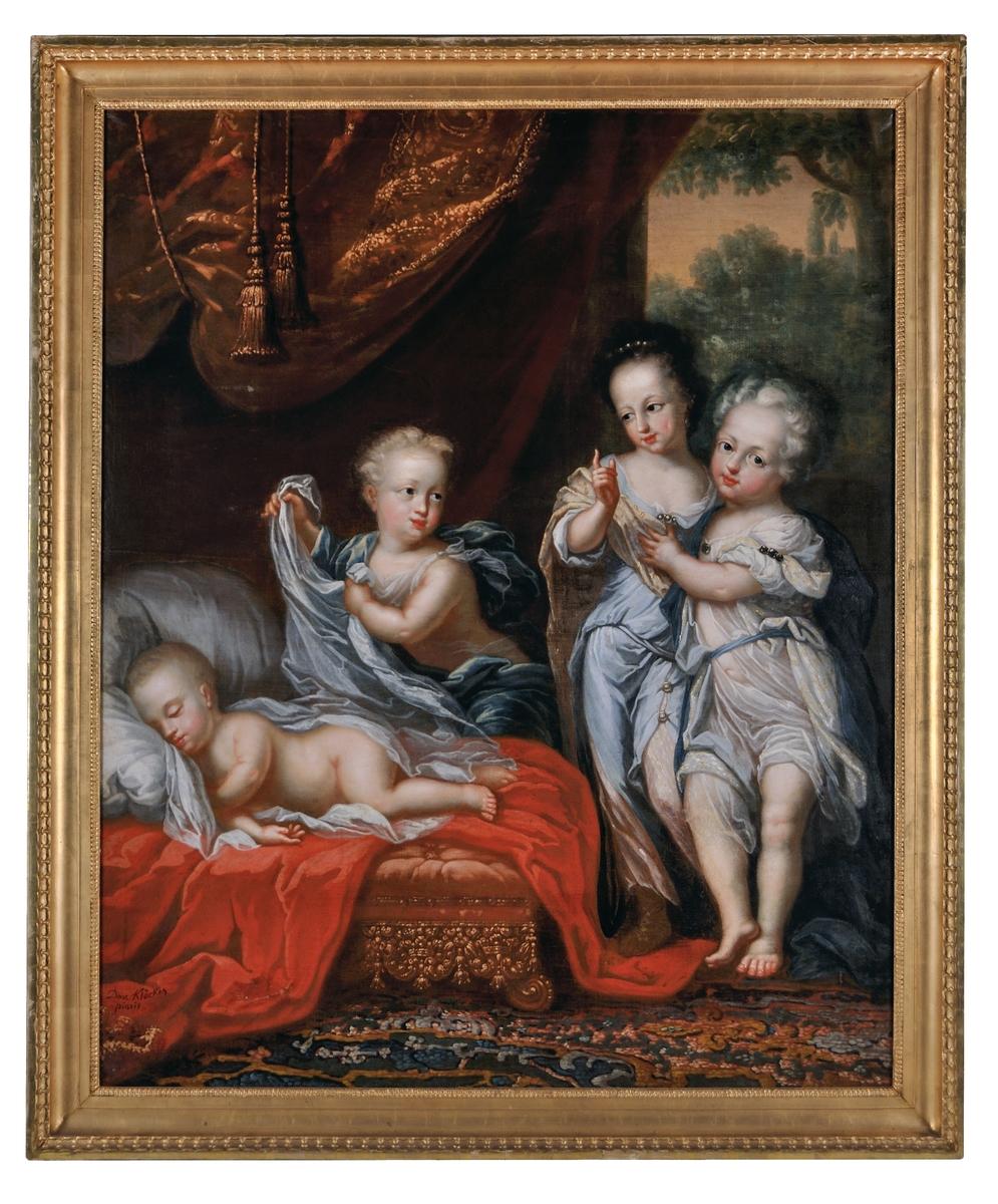 """Enligt katalog: """"Ehrenstrahl, D. v. Klöcker. Karl XII som barn, sovande. En genie lyfter i slöjan, t.h. systrarna. I bakgr. draperier. Sign David Klöcker pinxit. Olja på duk. Förgylld senempirram.""""  Repliker i Nationalmuseum: NM 6914 (ateljéarbete), NMGrh 1389 (tillskriven Ehrenstrahl)  Montering/Ram: Förgylld träram, senempire"""