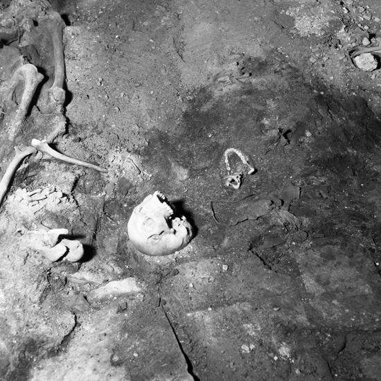 Växjö domkyrka, restaurering 1957. S2: Ulfsaxska graven. Detalj med skelett från V.