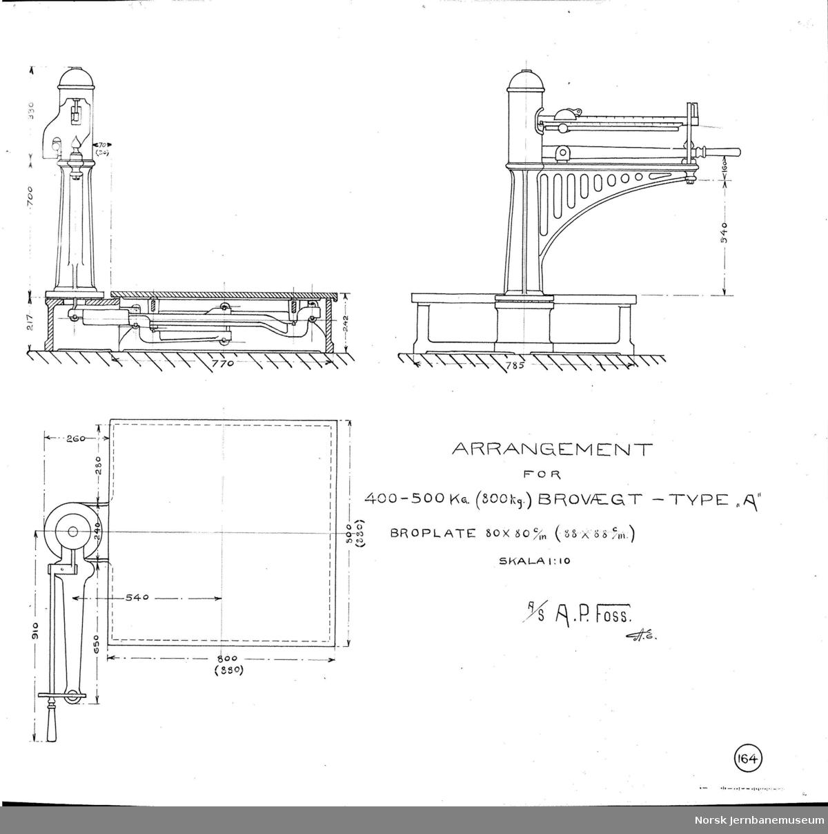 "Arrangement for 400-500 kg (800 kg.) brovægt - type ""A"" A. P. Foss tegning no. 164"