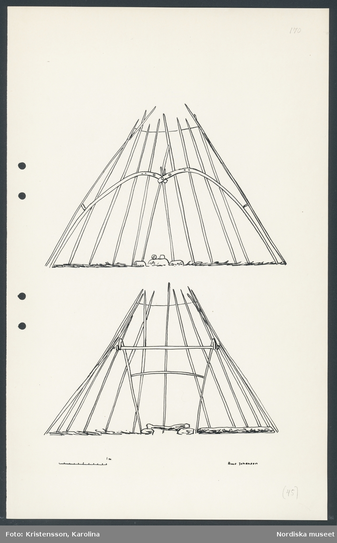 Teckning utförd av Runo Johansson troligen i augusti 1943 under Nordiska museets Lappmarksinventering i Saarivuoma lappby. Konstruktion av kåta.