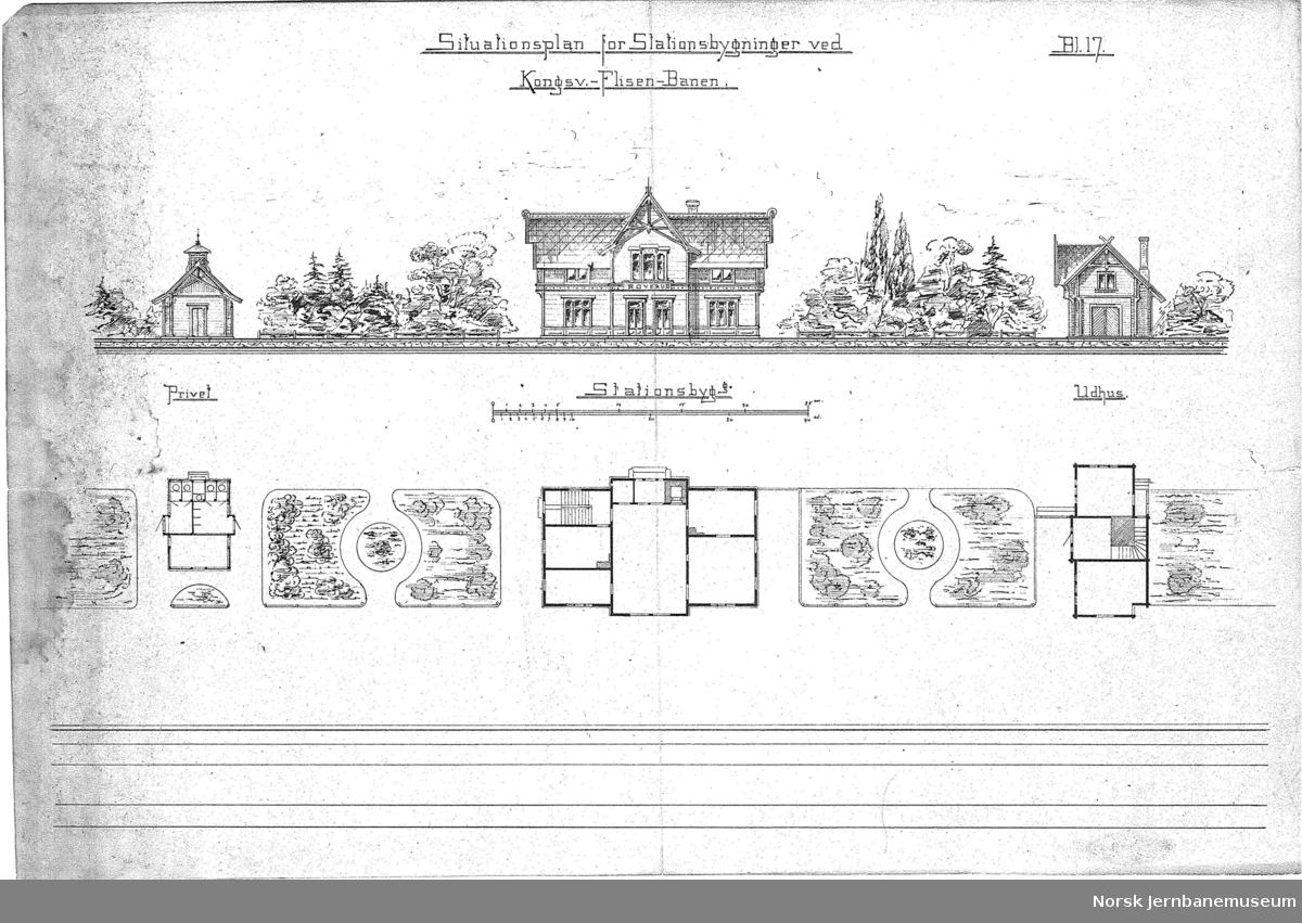Situationsplan for Stationsbygninger ved Kongsv.-Flisen-Banen