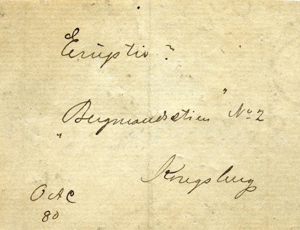 "To etiketter i eske:  Etikett 1: Eruptiv? ""Bergmandsstien"" No 2 Kongsberg OAC  80 Feltskisse på baksiden  Etikett 2 Bergmandsstien, Kongsberg O.A.C. 80."