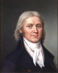 Portrett av Carl Adolph Dahl. Mørk drakt, hvit skjorte og halsbind, småmønstret hvit vest.