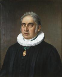 Portrett av Hans Jacob Stabel. Prestekjole og pipekrave. Medalje eller orden i grønt bånd rundt halsen. (Foto/Photo)