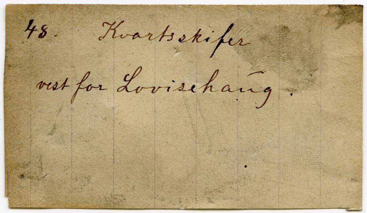 Etikett i eske: 48. Kvartsskifer vest for Lovisehaug.