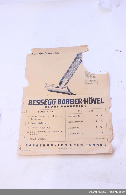 Reklameplakat for Bessegg Barberhøvel.