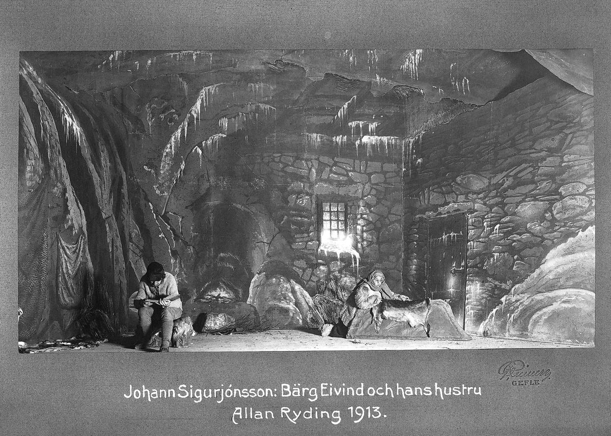 Johann Sigurjónsson:  Allan Ryding 1913. Allan Ryding. Född 1882, död 1943. Johann Sigurjónsson. Född 1880 Island, död 1919 Danmark. Författare och dramatiker. Bärg Eivind och hans hustru (1911) skådespel med isländskt ämne i fyra akter.