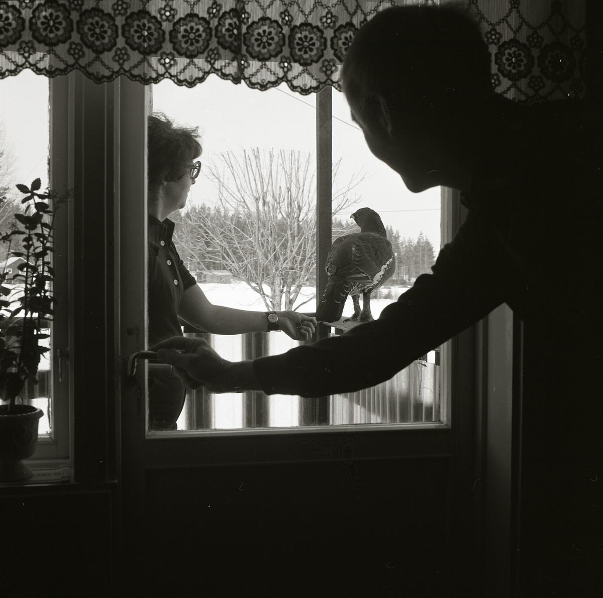 En man tittar ut genom fönsterrutan på en kvinna. Kvinnan står bredvid en tjädertupp och rör försiktigt vid dess stjärtfjädrar. Fågeln sitter på balkongräcket och utanför terassen ligger snön tjock.