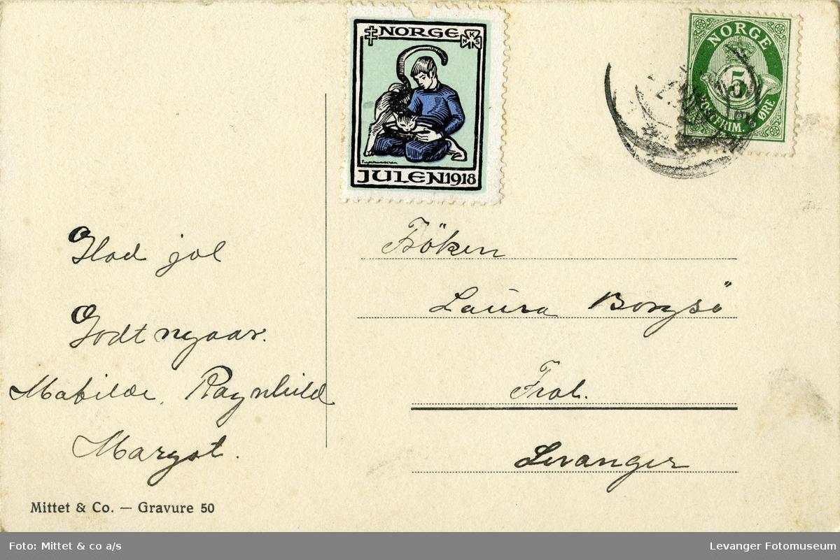 Postkort vintermotiv med dampbåt ved sjøen, brukt som julekort.
