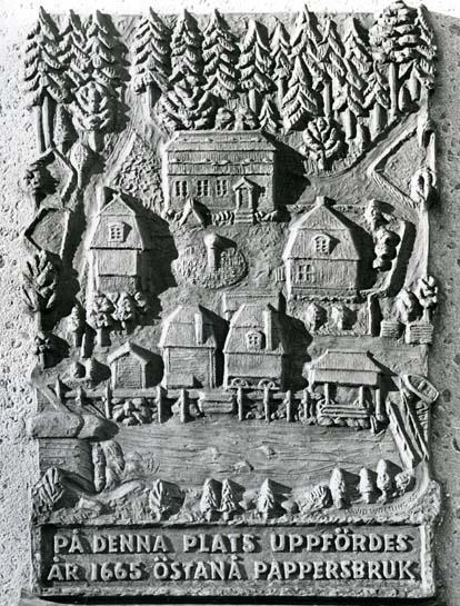 Relief med Östanå pappersbruk, inledningen till Iggesunds Bruk.