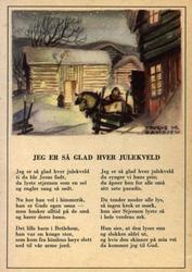 Julekort. Ubrukt. Vintermotiv. Gårdstun. Mann med hest. Teks