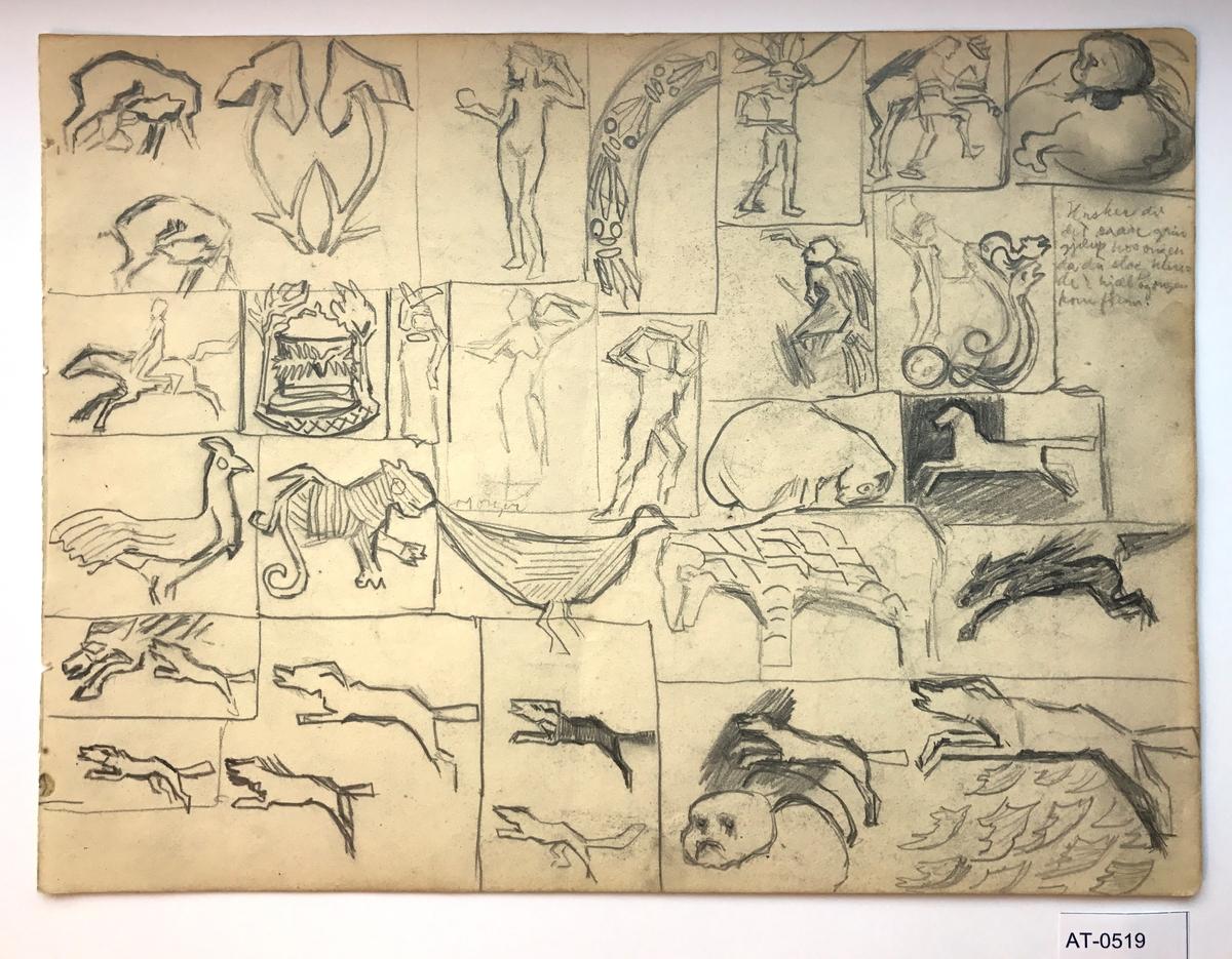 Tosidig skisse (ark frå skissebok). Side 1: 23 studier. Noko han har sett på museum, i ei bok eller eit blad?