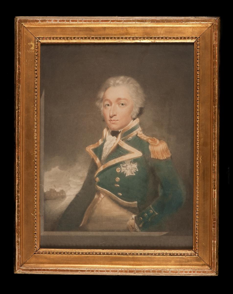 Porträtt av engelska amiralen sir William Smith. Förgylld ram
