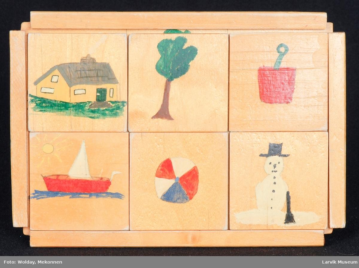 hus, tre, bøtte, båt, ball, snømann