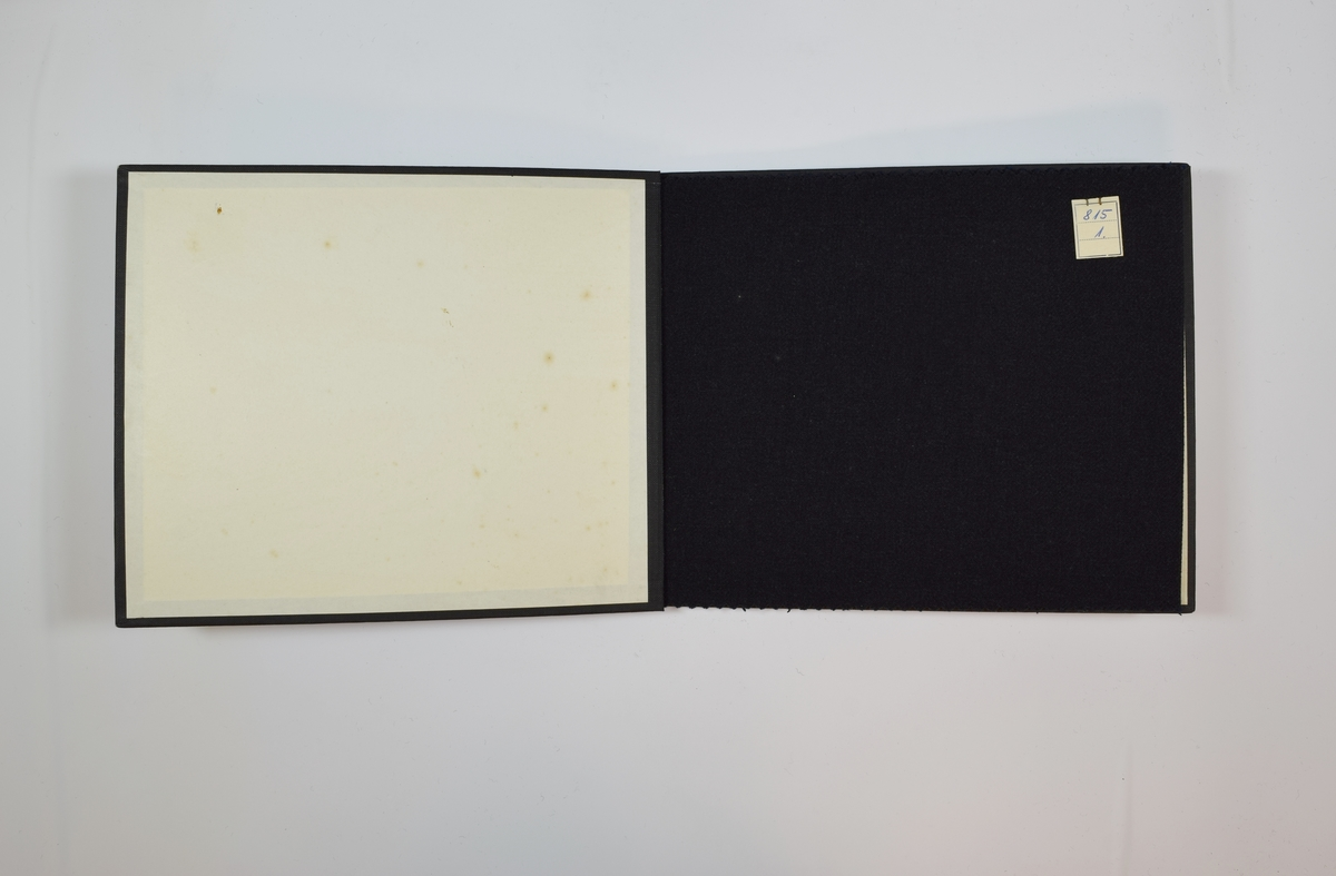 Prøvebok med 2 stoffprøver. Relativt tynne ensfargede stoff med diskret skrå striper i vevmønsteret. Kyperbinding/diagonalvevd. Melert. Stoffet ligger brettet dobbelt i boken slik at vranga dekkes. Stoffet er merket med en firkantet papirlapp, festet til stoffet med metallstifter, hvor nummer er påført for hånd.   Stoff nr.: 815/1, 815/2.