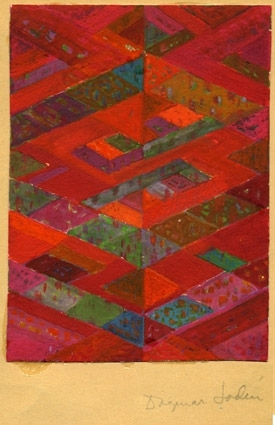 Färgskiss till matta. Diagonala former i olika nyanser rött och några i grönt. Vattenfärgsmålat på papper limmat på kartong. Originalskiss signerad Dagmar Lodén.
